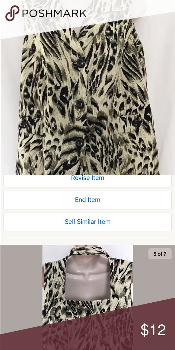 Virgo Animal Print Top Sz 16 Virgo Animal Print Top with open back and button Front Sz 16 Virgo Tops Blouses