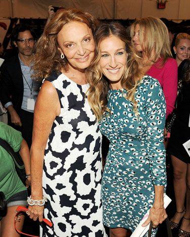 Diane von Furstenberg Front Row - Diane von Furstenberg and Sarah Jessica Parker in Diane von Furstenberg #nyfw