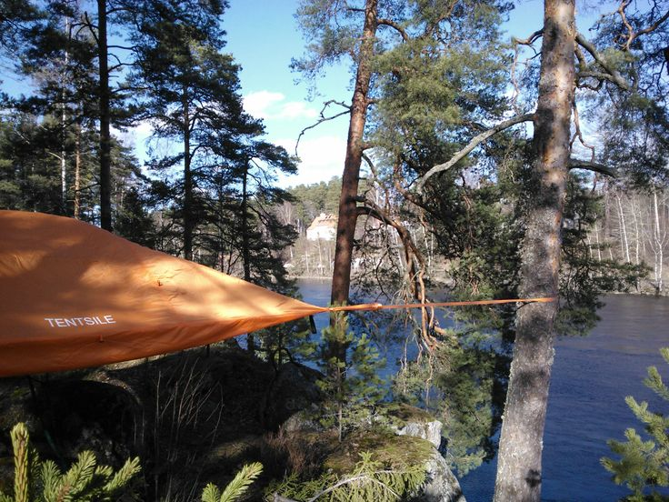 Camping on the edge. Kymi River, Finland