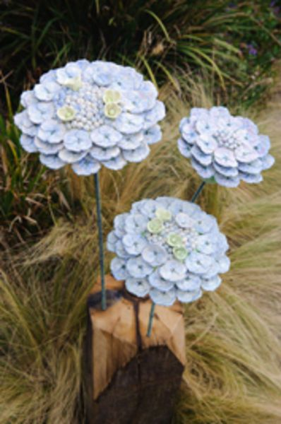 3 Hydrangeas - Thrown and modeled stoneware with sea defence timber