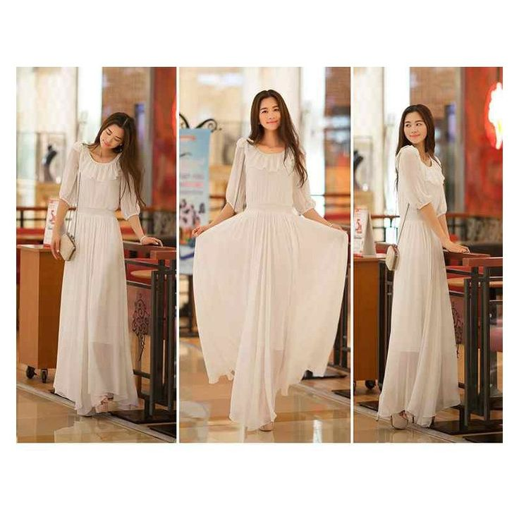 White Maxi Dress LD163 Condition  New  LD163 Color : White-Blue Chiffon Bust80 Length128 Sleeve33 Retail price IDR220,000	Reseller price IDR165,000	Wholesaler price IDR137,500