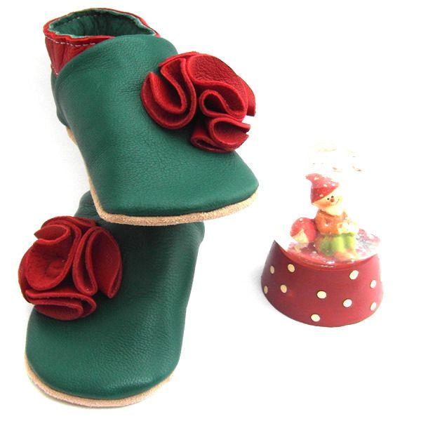 Chaussons cuir souple pompons rouge et vert pour enfants du 29 au 35