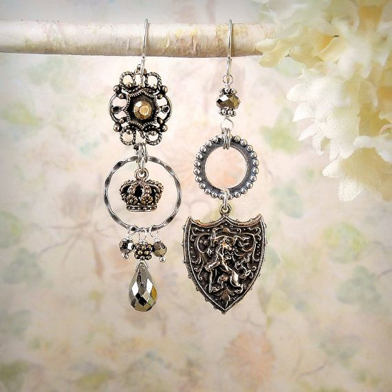 Honourbound - OOAK Assemblage Earrings, Medieval Mixed Metals, Rustic Coat of Arms, Heraldry, Shield, Bronze and Sterling, Leo, Lion, Crown, by MiaMontgomery at Etsy