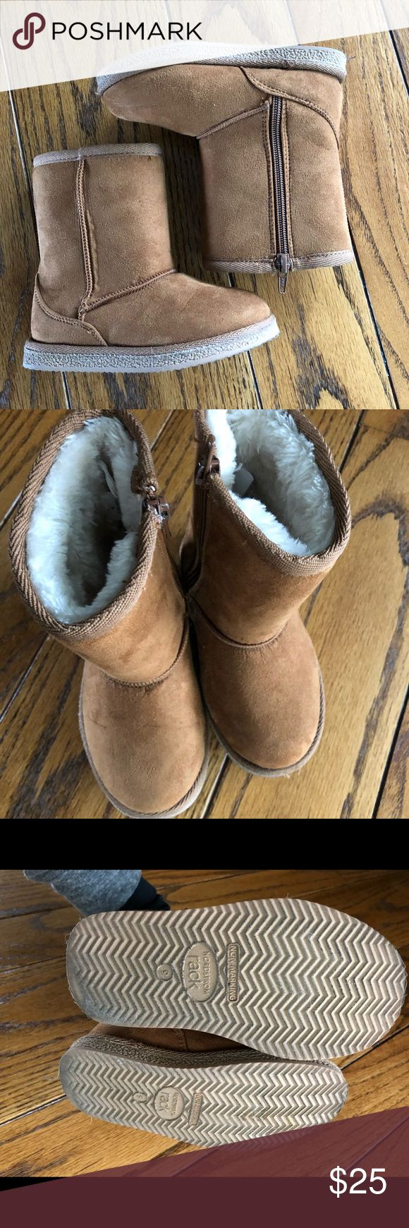 Nordstrom Rack brand UGG boots Nordstrom Rack brand UGG like boots in kids size 9. In great condition with lots of life left. My daughter wore these only a couple times. Fluffy and comfy faux fur lining inside. UGG Shoes Boots