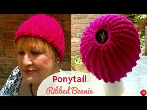 2c0455b917109 (22) Ponytail Chained Ribbing Knitted Hat - Knitting a Stretchy Ponytail Hat  - YouTube