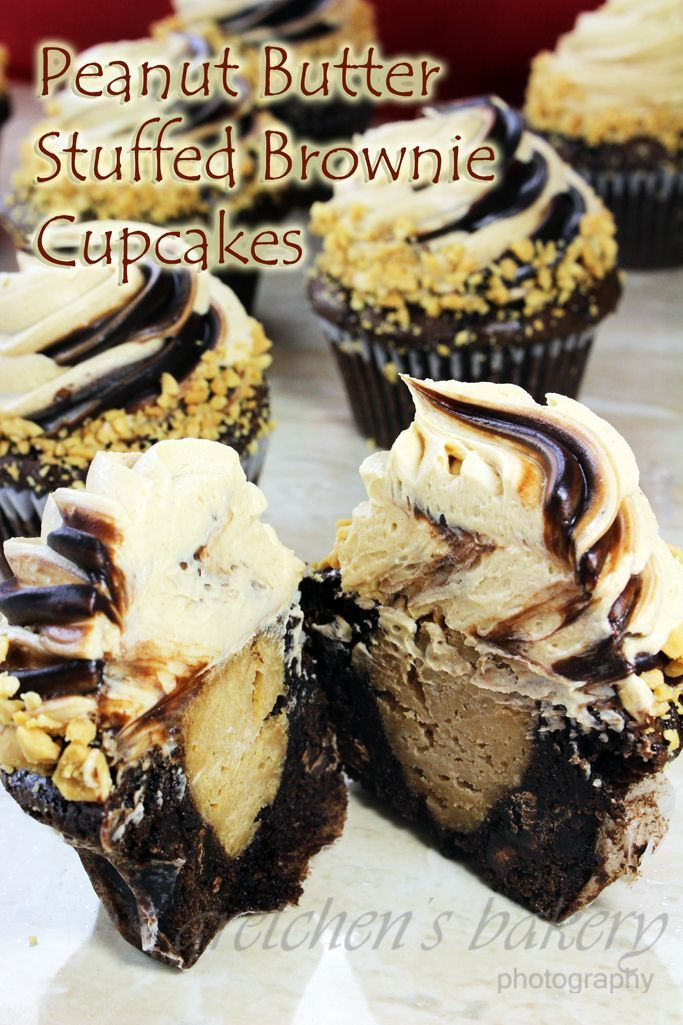 Peanut Butter Cheesecake Stuffed Brownie Cupcakes -- Gretchen's Bakery