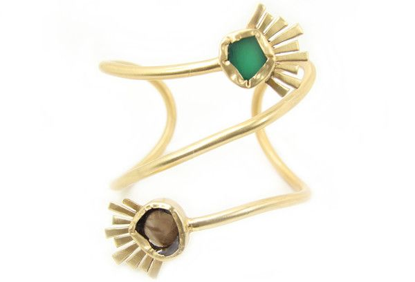 Zariin Global Trot Green Chalcedony and Smoky Topaz Cuff: Available at http://eveadorned.com/collections/zariin