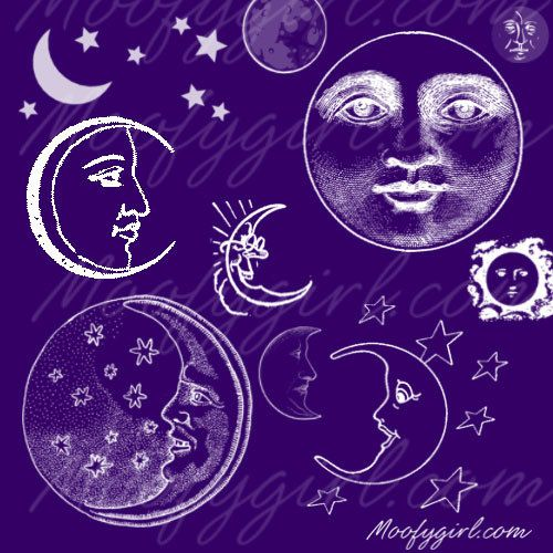 Moon Full Crescent Photoshop Brushes Brush Set by moofygirl, $2.99