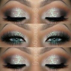 Silver Glitter Eye Makeup Look for Blue Eyes