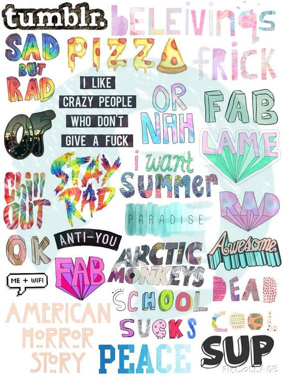 Set 23. Tumblr Stickers. Stickers. Set of by BestStickersClub