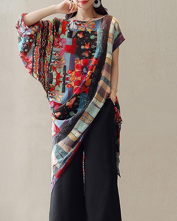 Asymmetrical Short Sleeve Vintage Printed Irregular Blouses Tops