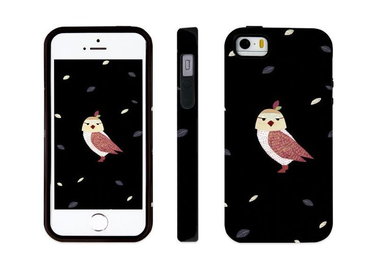 "iphone 5 5s illust designed case, ""an owl - black"" made in korea, hardcase #astep"