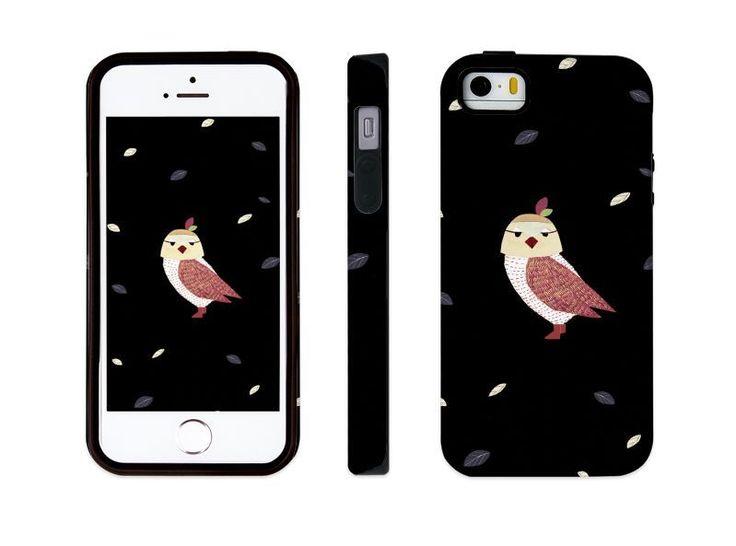 "iphone 5 5s illust designed case, ""an owl - black"" made in korea, hardcase #astep"