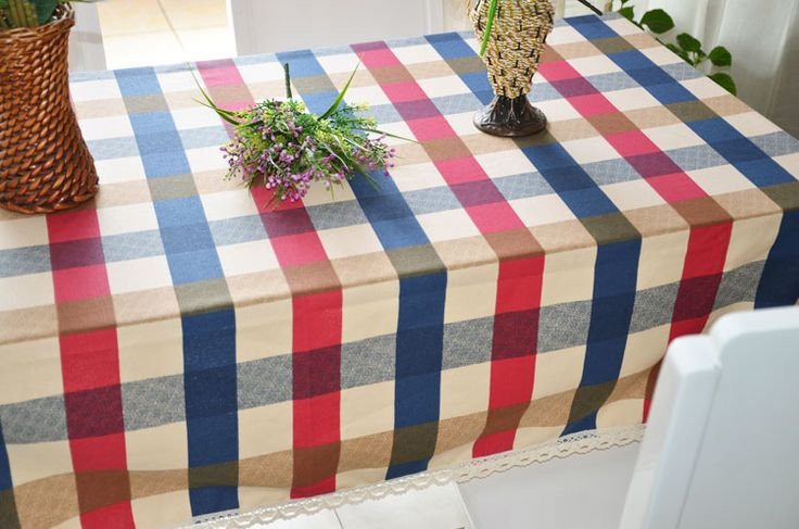 Dinner Picnic Tablecloth Overlay Red White Printed Checker with Lace Rectangle Cotton Plaid Table Decor & Linens Textile #Affiliate