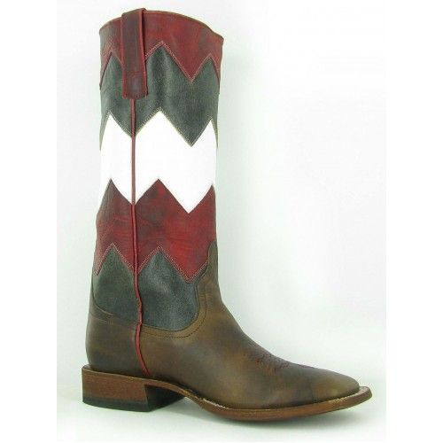 Macie Bean Ladies' Cowboy Boots Moka Show Steer with Red White and Burnished Black Chevron Tops