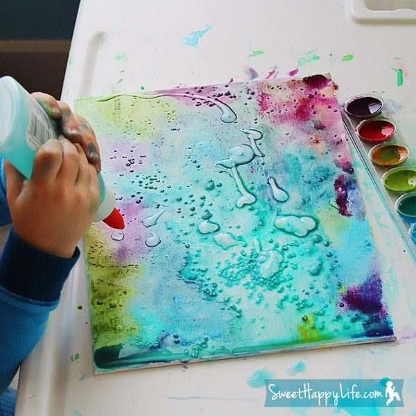 Pin for Later: 250 Easy, Fun Ways to Get Crafty With Your Kids! Watercolors, Glue, and Salt Canvas Art We love the combination of fun materials that give this canvas art its lovely hues.  Source: Sweet Happy Life