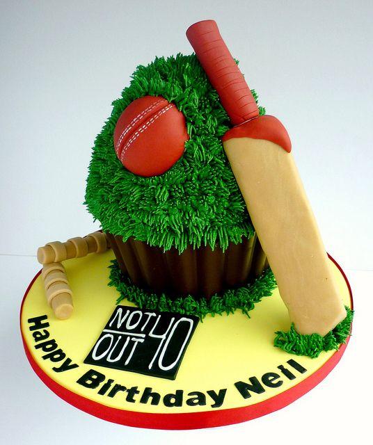 Cricket themed giant cupcake cake via Swirls Bakery