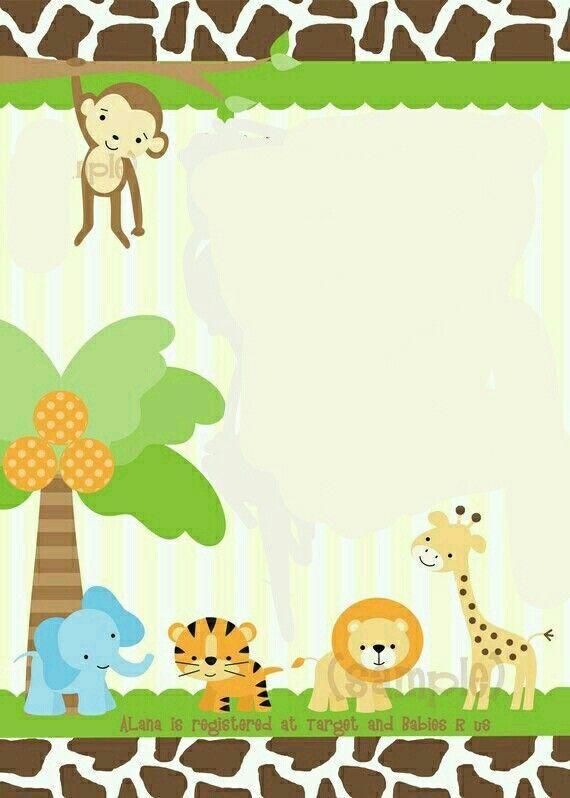 Blank Safari Invitation Template Inspiring Jungle Deniz Pinterest Stock In 2020 Safari Baby Shower Invitations Safari Invitations Baby Shower Invitation Templates