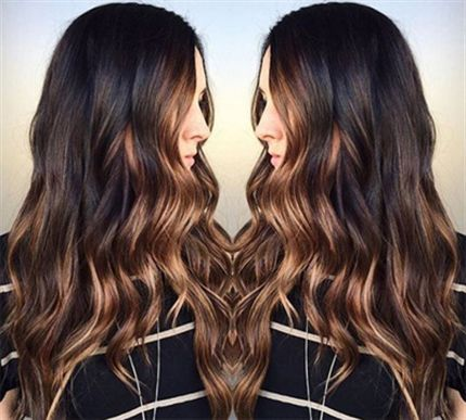 """Get the brunette balayage of her dreams with this color formula that keeps her hair dark andadds light in all the right places. A stunning combination that looks a little bit like milk chocolate and dark chocolate combined, this """"IT"""" look is the perfect look for the upcoming season."""
