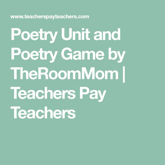 Poetry Unit and Poetry Game by TheRoomMom   Teachers Pay Teachers
