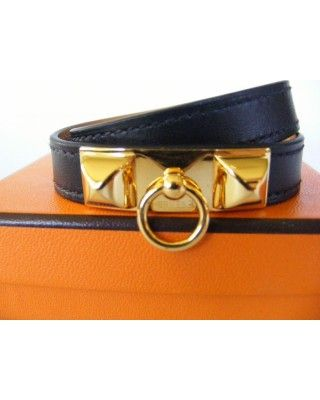 discount Hermes Black Leather Gold Ghw Rivale Double Tour Bracelet S Euc wholesale,online outlet