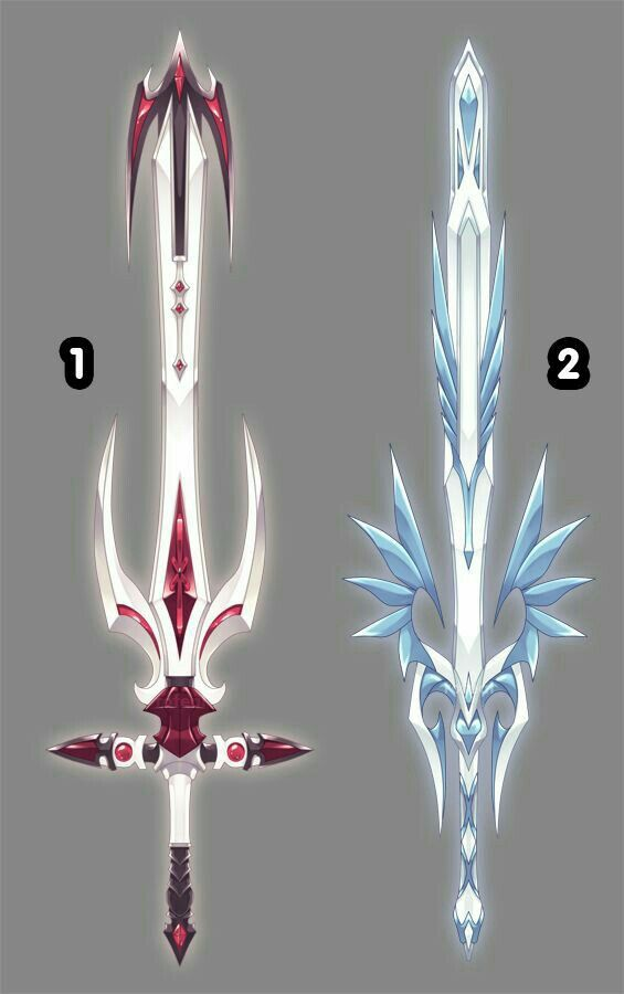 Swords, red, white, blue; Anime Weapons