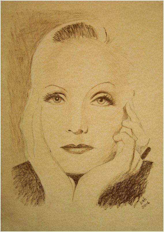 Original hand drawing of screen siren Greta Garbo, conte pencil on dappled corn paper