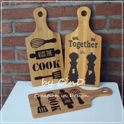 Houten snijplank / wooden cutting board By CinD, Creation in Design wooden (& more) handmade wannahaves