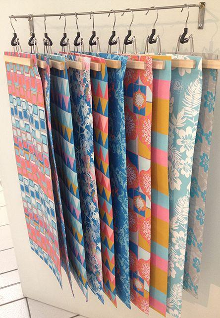 Hanging fabric samples idea | Mungo Homes Design Center ...