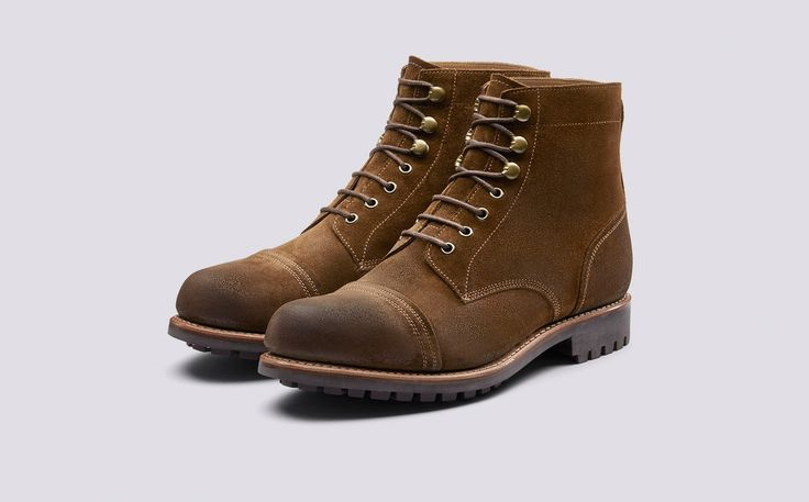 Radley | Mens Derby Boot in Snuff Burnishing Suede with a Commando Sole | Grenson Shoes - Three Quarter View