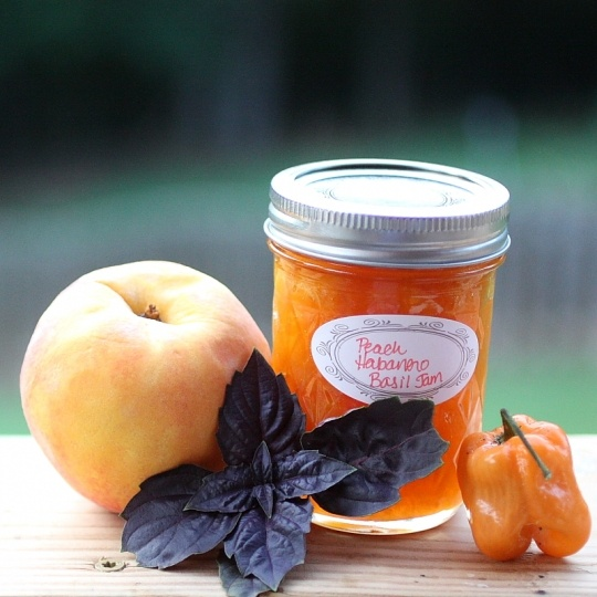 This Peach Habanero Jam came out great, I had to omit the purple basil because I couldn't find any.