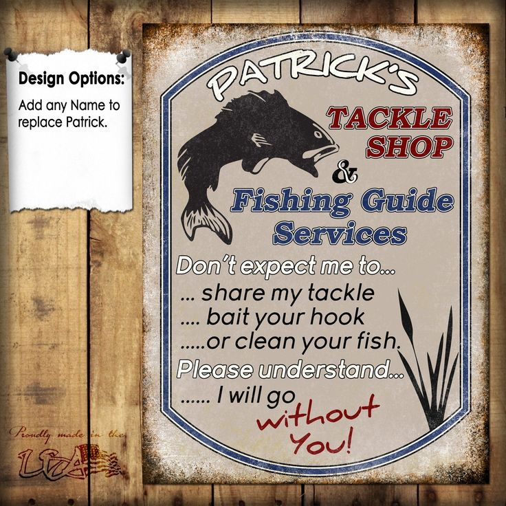 "Custom Tackle Shop // 1 Aluminum Sign // Indoor or Outdoor // 12"" x 16"""