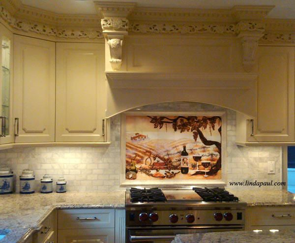 italian inspired kitchen with vineyard kitchen mural and ivory marble border tile with 4 cream marble subway tile backsplash. beautiful ideas. Home Design Ideas