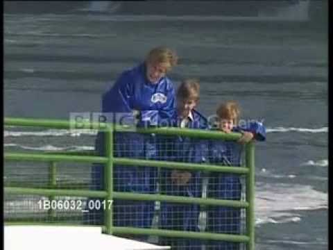 Princess Diana at Niagara Falls  Diana, Prince William and Prince Harry on board the 'Maid of Mist' during the Canadian Tour. October 26, 1991.