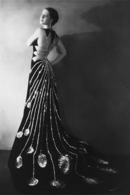 """The back of this dress is amazing. Wish the photo were in color. Higher quality photos of Norma Schearer modeling a sensational dress she wore in the silent film, """"Upstage"""""""