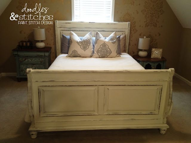 Distressed Sleigh Bed White For The Home Pinterest