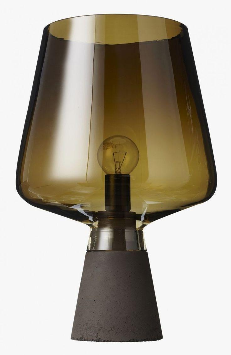 Wine Glass-Like Table Lamp on Concrete Base