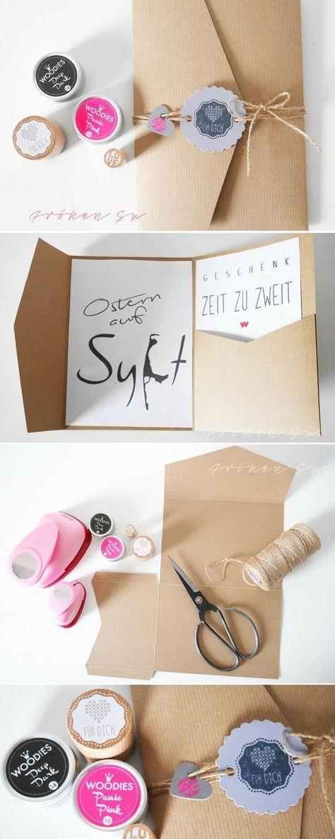 Gutschein sehr schön verpackt   – DIY Grusskarten: Karten basteln & Selbermachen