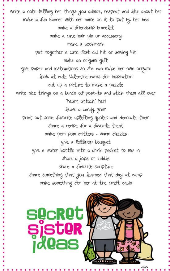Secret Sister ideas- We did Secret Santa in 2nd grade and the girls loved it! I