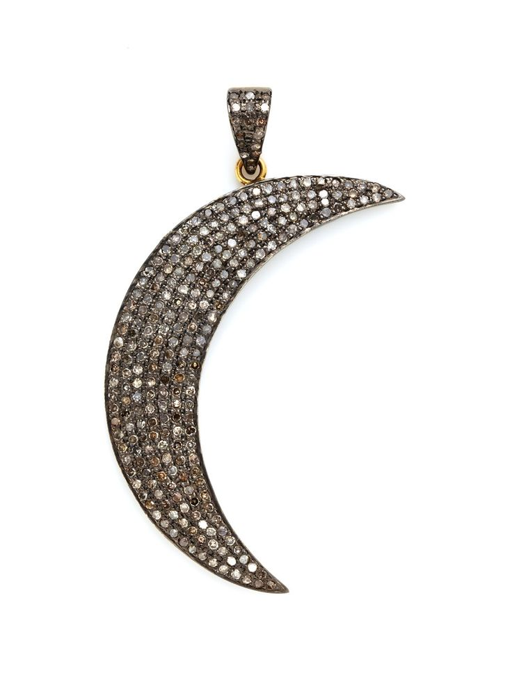 Diamond Crescent Moon Pendant by Karma Jewels at Gilt