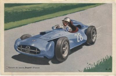 Chocolats Tobler Postcard - Voiture de Course Bugatti (France) Signed RA