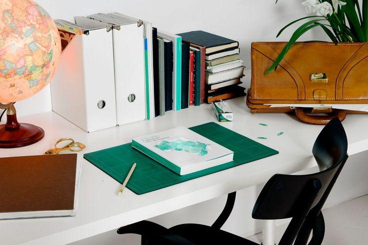 Cool design firm + nice desk set up.