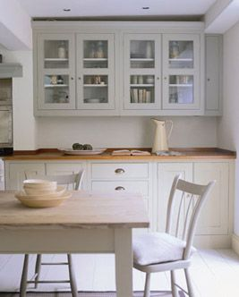 Plain English kitchen. Love the glass cabinets