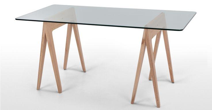 Morton Large Glass Trestle Table Oak Made.com