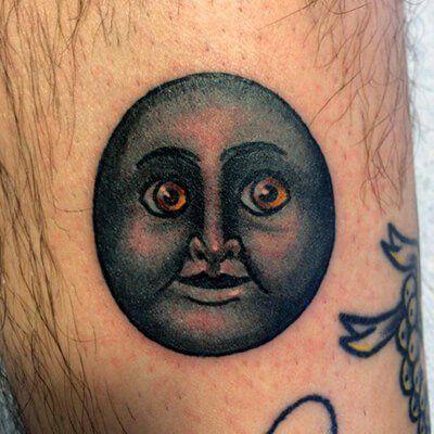 Moon Face Emoji Tattoo