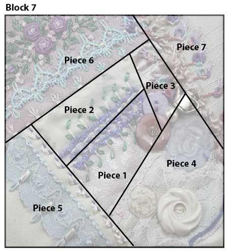 Block 7 Crazy quilt details - Pintangle   Page 117