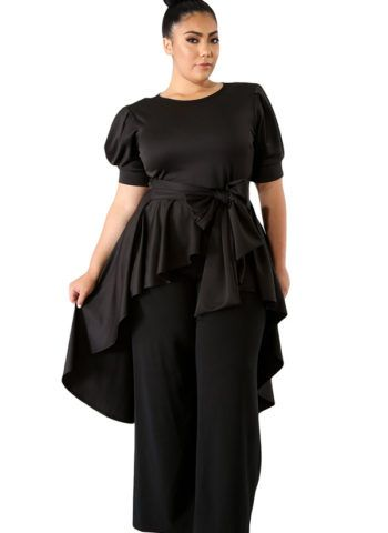 0c3d9aba70 Hualong Black Short Sleeve Tie Front Womens Plus Size Tops #women #fashion  #blouse #party #ootd #club #street #girl #lady #tshirt #plussize  #plussizefashion