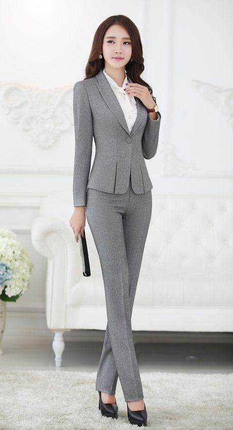 Trajes pantalón formales para mujeres trajes de negocios para conjuntos de  ropa de trabajo chaqueta gris para mujer oficina estilos uniformes trajes de  ... 3d4bdfe1e291