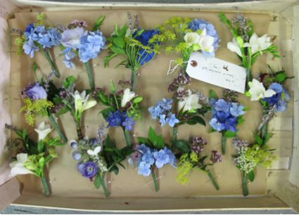Beautiful country buttoholes from the flower appreciation society