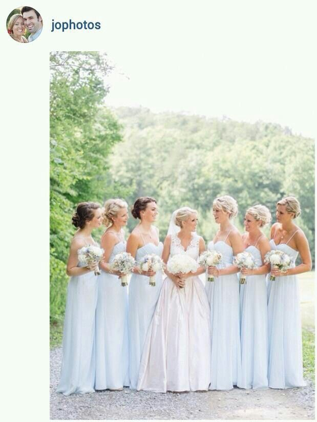 powder blue bridesmaid dresses go really well with the soft spring sunshine